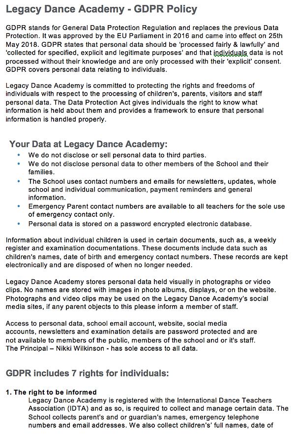 Legacy Dance Academy GDPR Policy