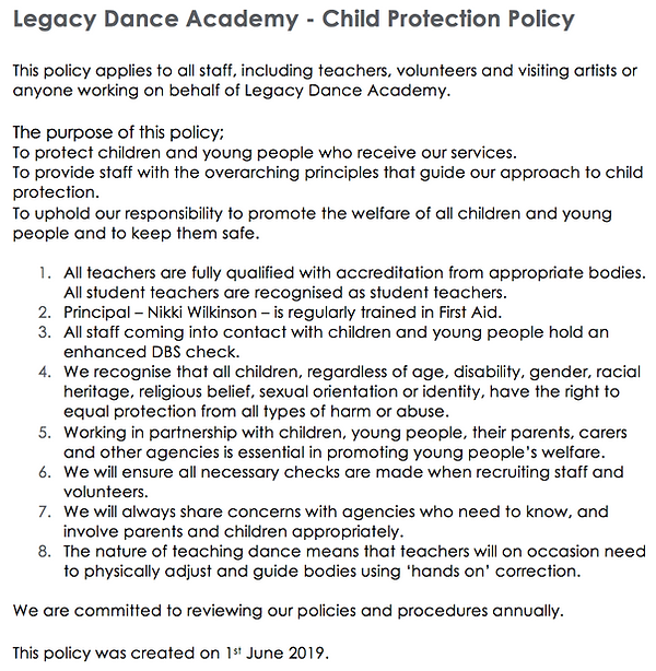 Legacy Dance Academy Child Protection Policy