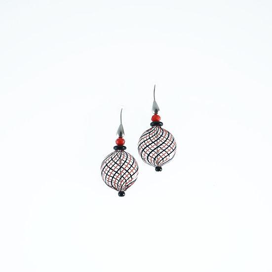Nero Rosso Filigrana Earrings