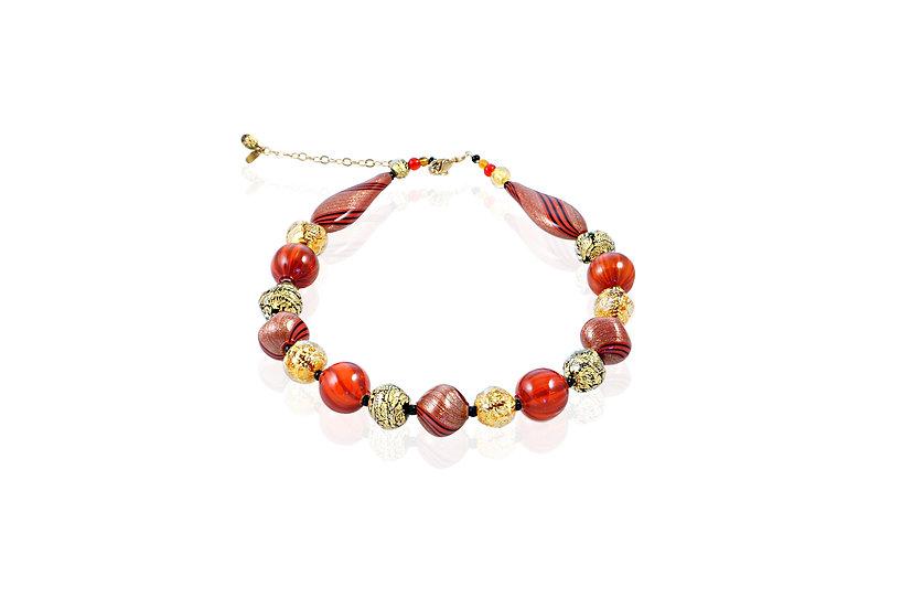 Rosso Nero Oro Avventurina Necklace