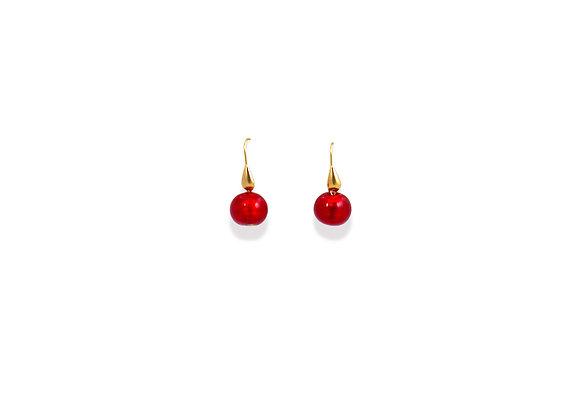 Rubino Rosso Tondo Earrings