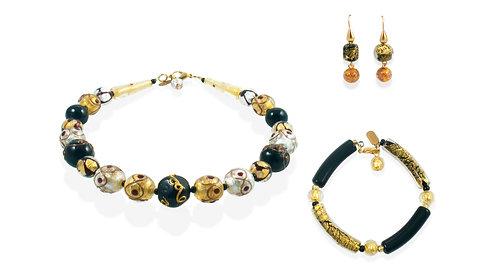 Nero Oro Argento Merletto Jewelry Set