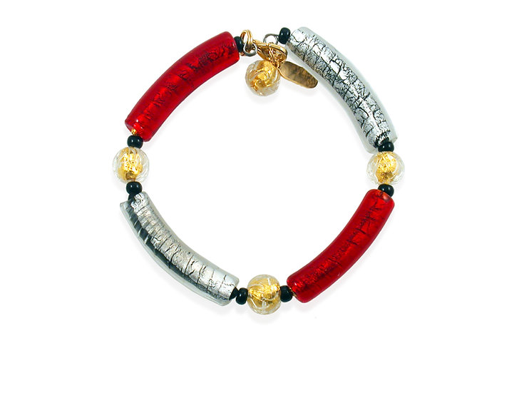 Rosso Argento Anello Bracelet
