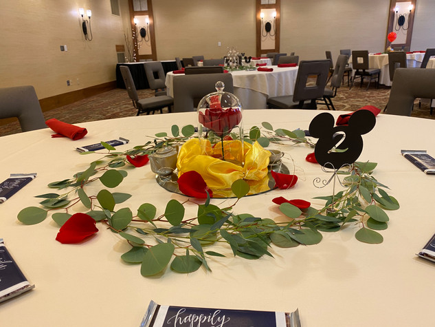 Guest Table Centerpiece - Beauty and the Beast theme