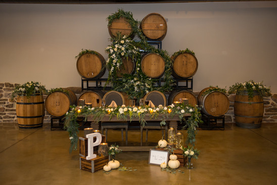 Sweetheart Table and Wine Barrels
