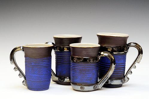 Vibrant Blue Steampunk Mugs