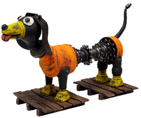 Steven M Allen Steampunk Dog sculpture in black clay