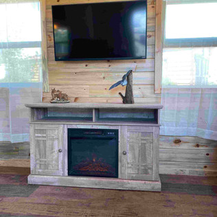 Cottage Fireplace and TV Area