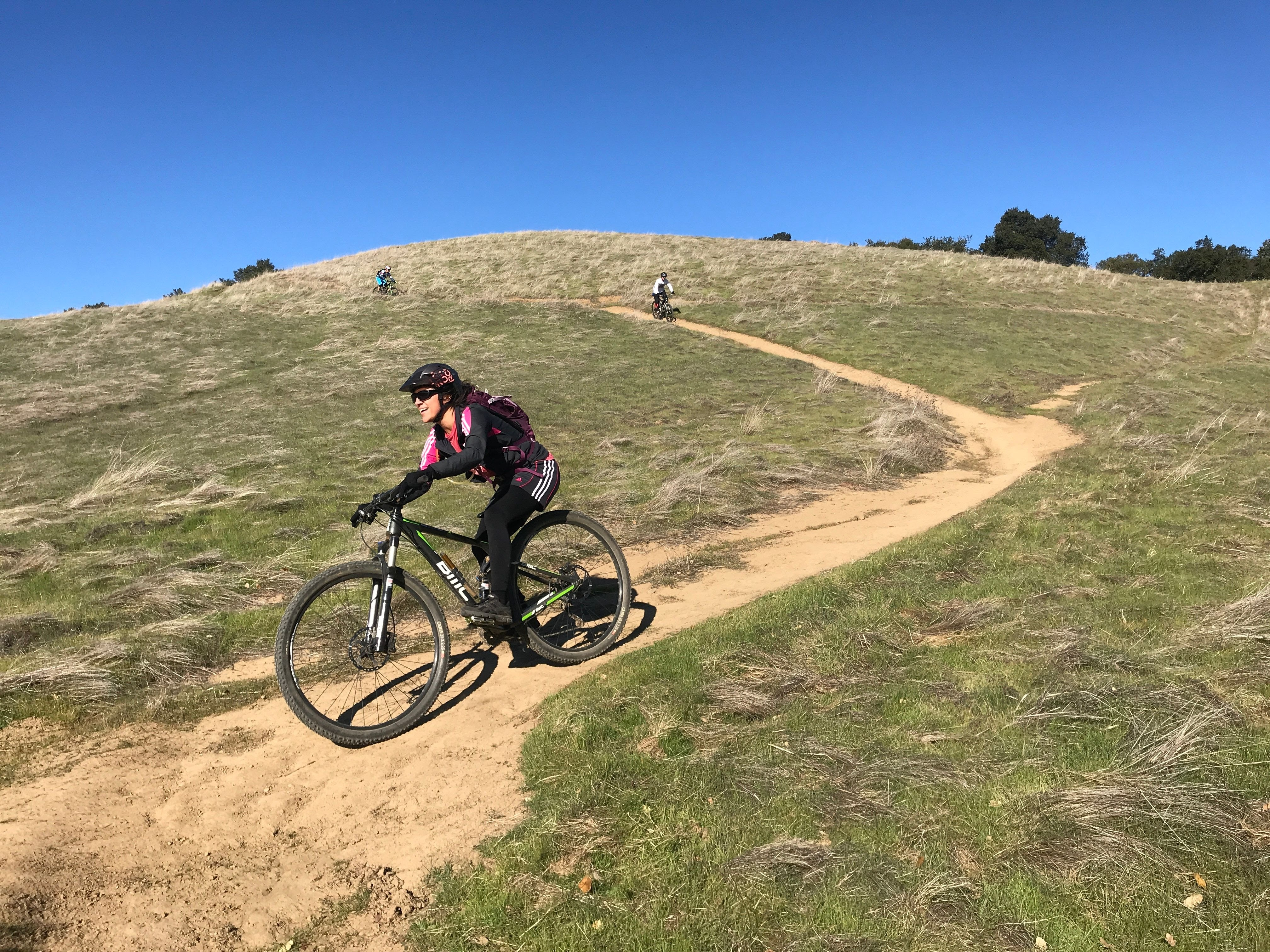 Single track trail users