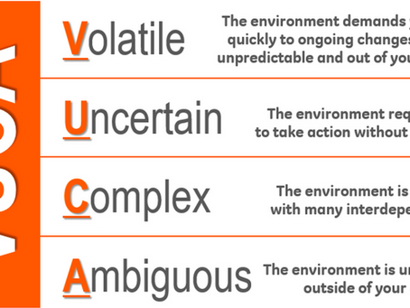 What are the characteristics of the VUCA world, including the current sanitary crisis ?