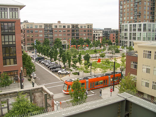 dense urban downtown with public transportation