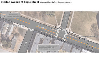 Morton Avenue/Eagle Street Demonstration Curb Extension: Temporary demonstration of pedestrian curb extensions at the Morton/Eagle intersection. Curb extensions are marked on the pavement using temporary adhesive striping and flexible delineators at the southern edge Morton Avenue and at the western and eastern edges of Eagle Street. These curb extensions extend seven feet from the sidewalk. On the southern edge of Morton Avenue, the curb extension is one hundred and forty feet long. On the western edge of Eagle Street, the curb extension is seventy feet long and wraps around the corner. On the eastern edge of Eagle Street, the curb extension is ninety feet long and wraps around the corner.