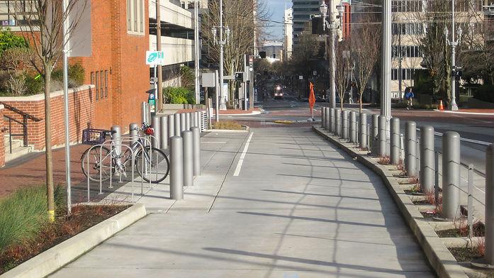 school drop off lane with bike parking