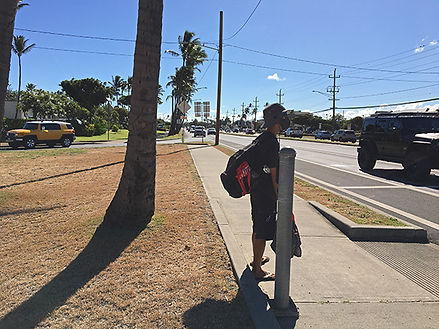 pedestrian at kahului beach road and kaa