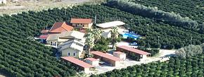 vista aerea dell'agriturismo e della piscina