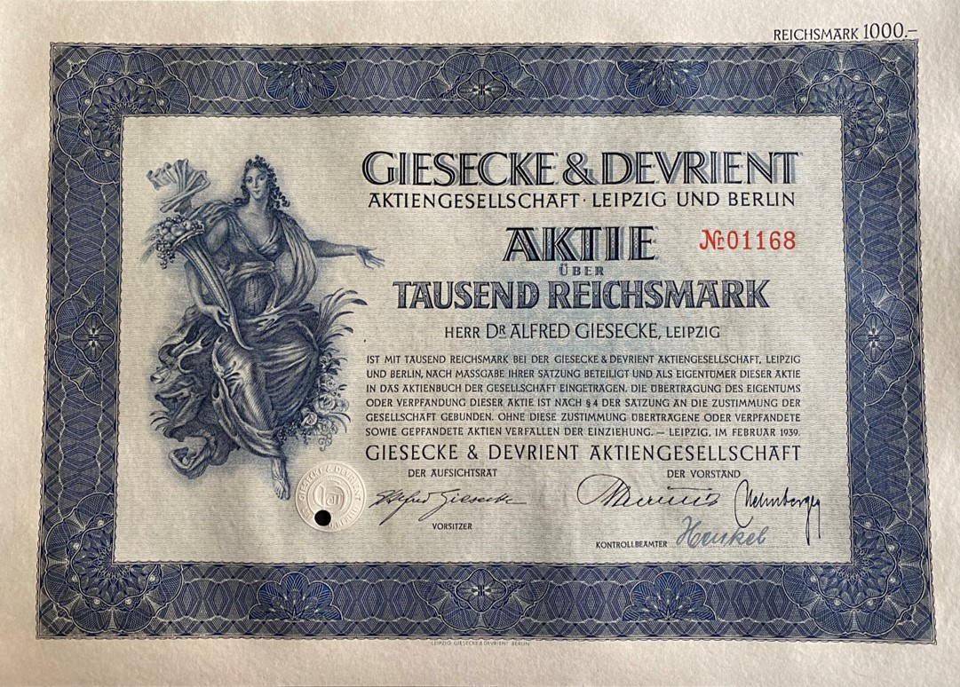 Giesecke & Devrient AG, 1939