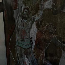 Christus (vor Kreuz) und Prometheus (an Felsen)