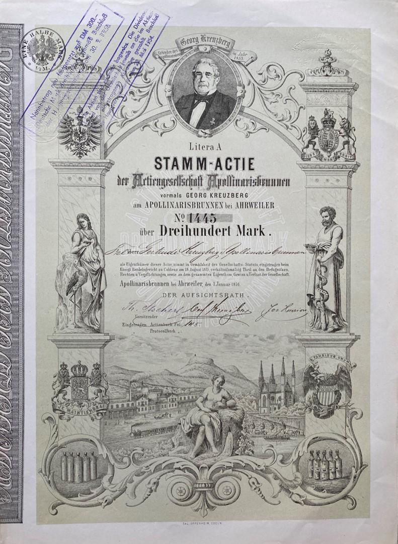 Aktie Apollinarisbrunnen, 1876
