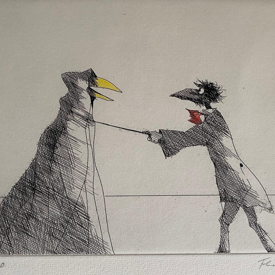 Monsieur Corbeau und eine verhüllte Figur