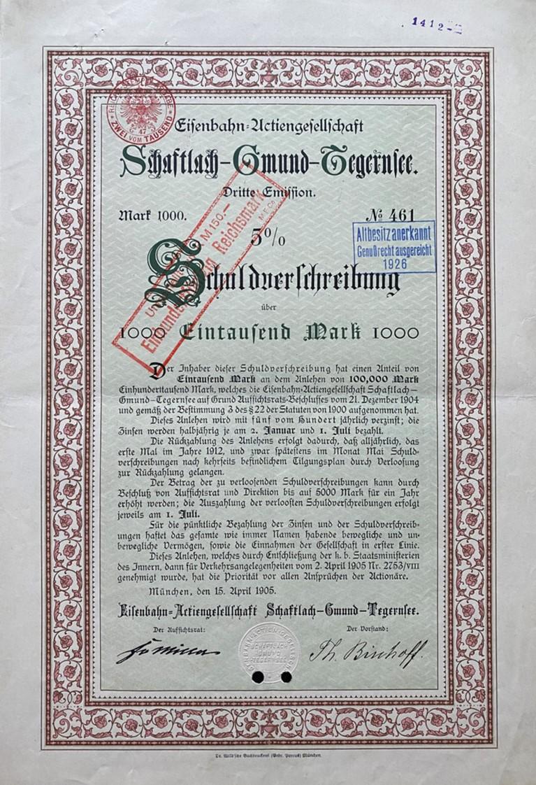 Schuldverschreibung, 1905