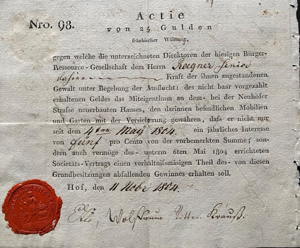 Aktie Bürger-Ress.-Ges., 1804