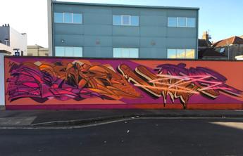 New back wall car park graffiti at Old Market shop