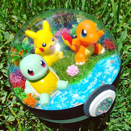 Lit up Squirtle, Pikachu and Charmander Terrarium