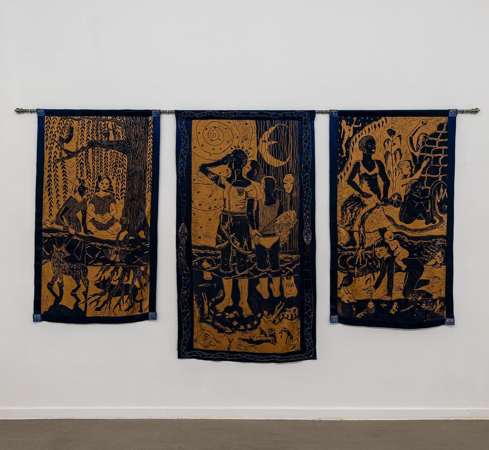 'Who Do We Tell When The Bees Are Dead', Linocut on fabric with embriodery and beading, 200 x 350 cm, 2020.