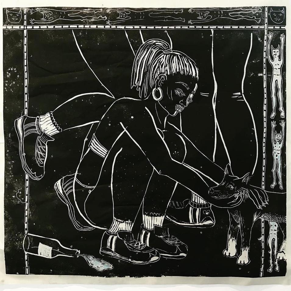 Jib Jab Juice, Linocut on paper, 100  x 100 cm, 2018.