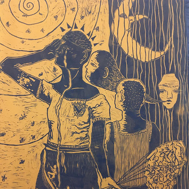 DETAIL 'Who Do We Tell When The Bees Are Dead', linocut print and embriodery on fabric, 2020.