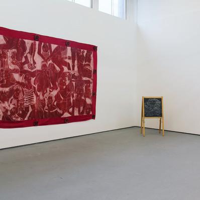 'The Girls Who Made Me', Linocut print on silk, 230 x 320 cm, 2017.
