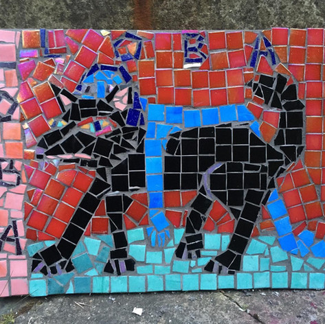 'Loba', glass and grout on wood, 30 x 40 cm, 2020.