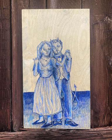 'Last Dance', pencil on wood, 34 x 19 cm, 2020.