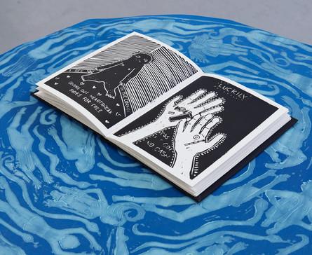 Friday Night Communion, Hand bound & handprinted linocut book, 2018.