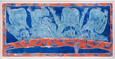 Lucozade Mornings, Linocut print on paper, 90 x 180 cm, 2017.