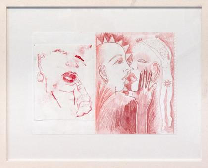 'Smackers', Monoprint and colour pencil on paper, 57 x 73 cm, 2018.