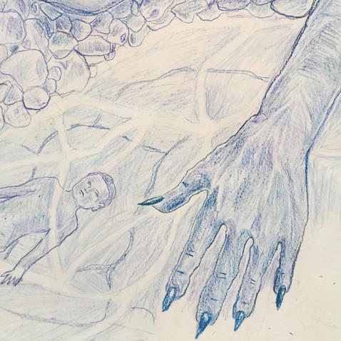 wip/detail - Crowley's Curse, Color pencil on paper, 120 x 110 cm, 2019.