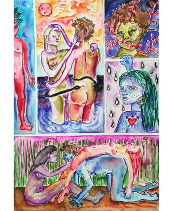 'Borderline Love', Watercolour on paper, A4, 2020.
