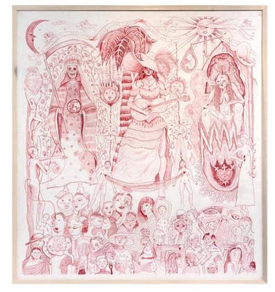 'Las Que Saben', Colour pencil on paper, 120 x 110 cm (framed), 2019.