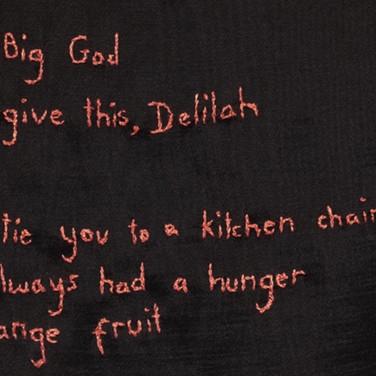 detail - 'Big God', Embriodery on frabric, 2020.