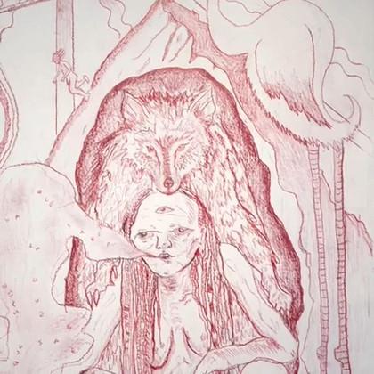 detail - 'Las Que Saben', Colour pencil on paper, 120 x 110 cm (framed), 2019.