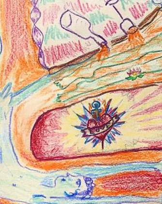 detail - 'Lucozade Mornings', colour pencil on paper, 50 x 58 cm, 2018.