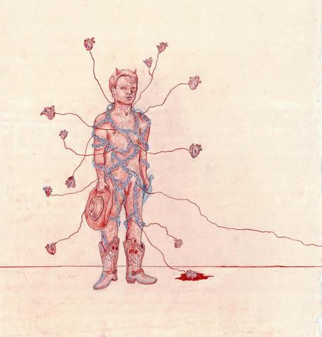 'Silver Dagger', colour pencil on paper, 2020.