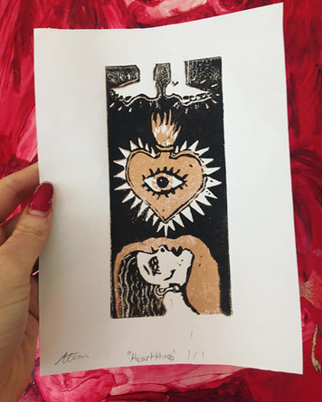 'Hearthrob', Linocut on paper, 2018.