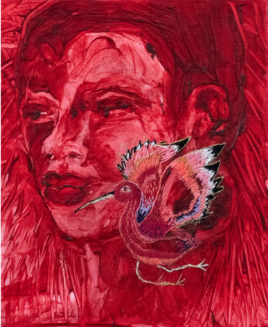 Scarlet Spirit, 2018 ,Oil on canvas with embroidery, 26 x 21 cm.