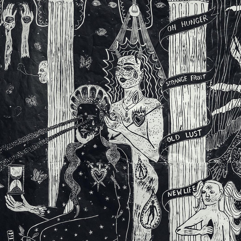 Detail - Your Hair Was Long When We First Met, Linocut on Japanese Paper, 190 x x 250 cm, 2019.