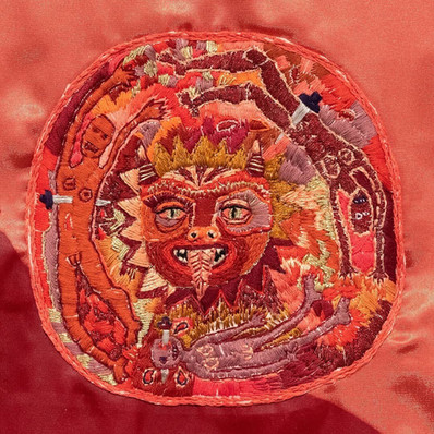 Detail - 'Jezebel's Burden', Mixed Media; linocut & embriodery on fabric, 65 x 55 cm, 2019.