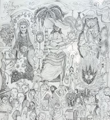 'Las Que Saben (Study)', Pencil on paper, 60 x 57 cm (framed), 2018.