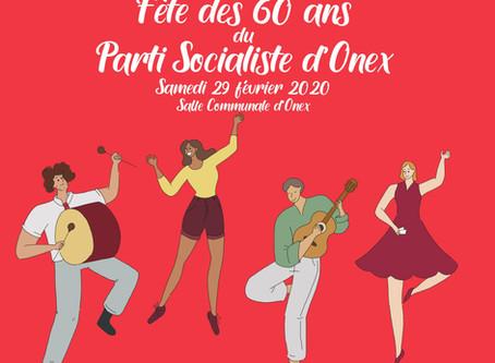 Fête des 60ans du Parti Socialiste d'Onex et soirée de Gala, samedi 29 février 2020