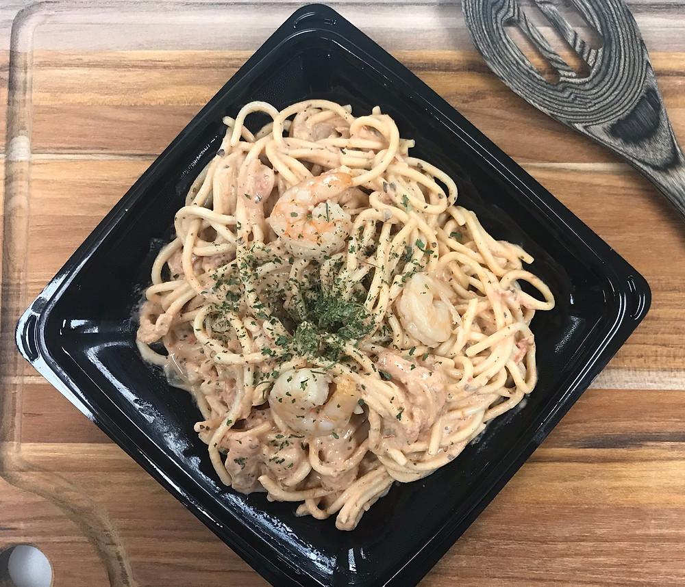 Shrimp Tomato Alfredo Spaghetti